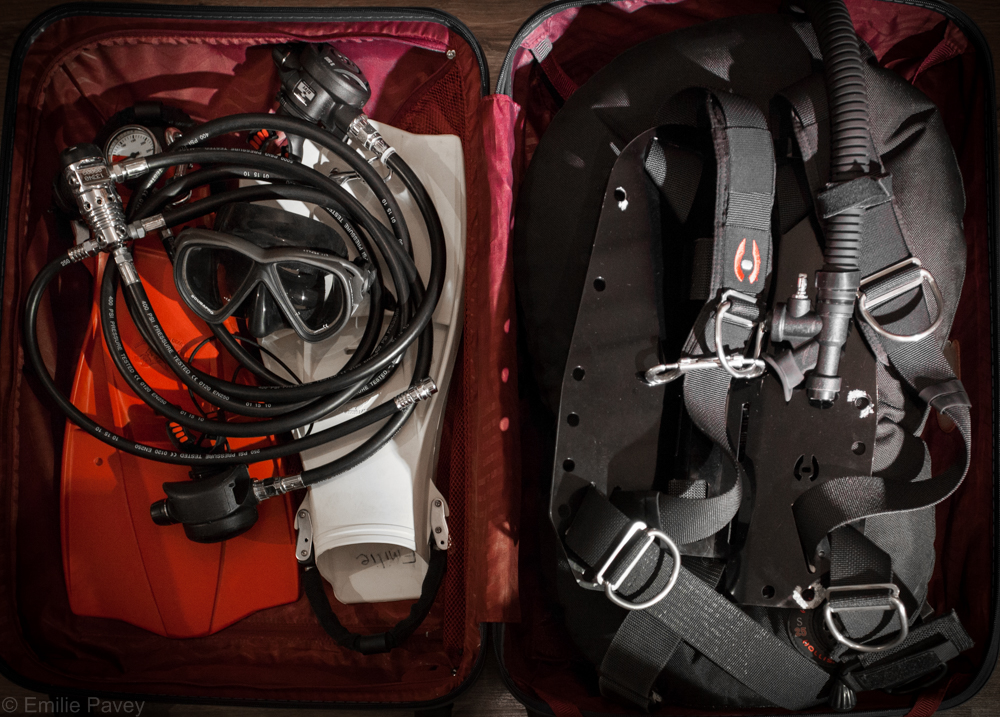 Diving gear in suitcase
